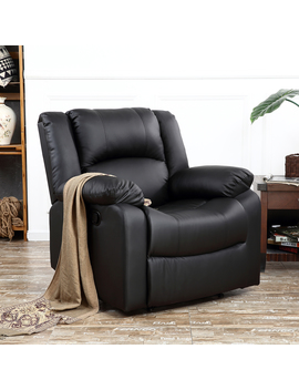 belleze-padded-recliner-chair-plush-leather-overstuffed-armrest-back,-black by belleze