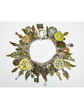 steampunk-statement-charm-bracelet-with-50-charms,-steampunk-charm-bracelet,-steampunk-charms,-steampunk-bracelet-br8 by etsy