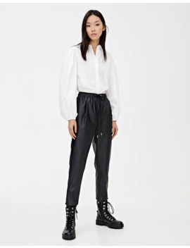 faux-leather-jogging-trousers by pull-&-bear