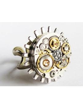steampunk-silver-gear-&-watch-movement-ring,-vintage-watch-movement-ring,-steampunk-ring,-steampunk-statement-ring,-steampunk-jewellery-rg6 by etsy