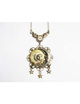 victorian-industrial-sun-&-moon-pendant-necklace,-steampunk-sun-and-moon-necklace,-sun-and-moon-necklace,-celestial-sun-moon-necklace-pn109 by etsy