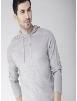Men Grey Melange Hooded Pullover by Mast & Harbour