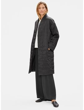 Limited Edition Quilted Silk Charmeuse Long Coat by Eileen Fisher