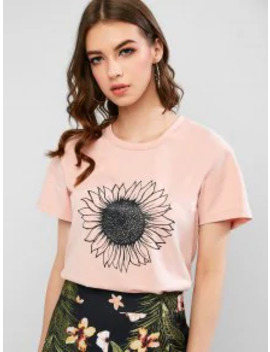 Short Sleeve Sunflower Graphic Basic T Shirt   Khaki Rose M by Zaful