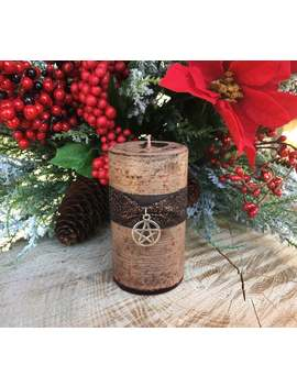 yule-log-pillar-candle-for-winter-solstice,-yule-log-tradition,-&-yule-celebrations-choose-a-size by etsy