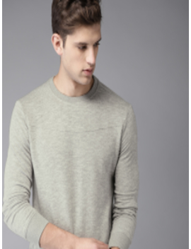 Men Grey Melange Solid Sweatshirt by Elaborado