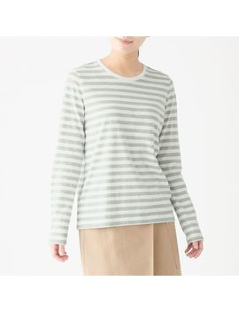 Indian Cotton Crew Neck Long Sleeve T Shirt Striped by Muji
