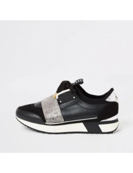 black-elasticated-diamante-runner-trainers by river-island