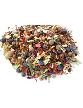 yuletide-artisan-herbal-tea-blend---rooibos-tea,-chicory,-orange,-evergreen,-fruit,-spice---fa-la-la-la-la---each-ounce-yields-15-20-cups by etsy