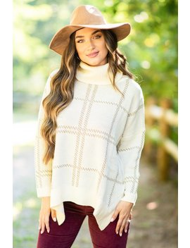 Mountain Views Cream White Plaid Sweater by The Mint Julep Boutique