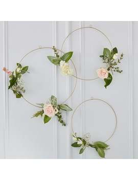 3-x-gold-floral-wedding-hoops,-florist-hoop,-wedding-backdrops-12,-14-&-16-inch by etsy