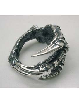 raven-claw-ring-in-solid-sterling-silver,-carrion-crow by etsy