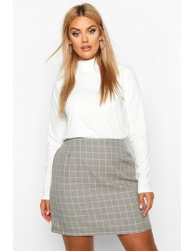 plus-check-a-line-mini-skirt by boohoo