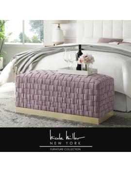 nicole-miller-annamay-velvet-bench,-hand-woven_-stainless-steel-base by nicole-miller