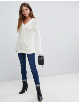 bellfield-cable-knit-v-neck-sweater by bellfield