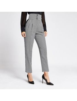 Black Check High Waist Trousers                                    Black Dogtooth Check Cropped Blazer                                      Black Dogtooth Check Print Boyfriend Blazer by River Island