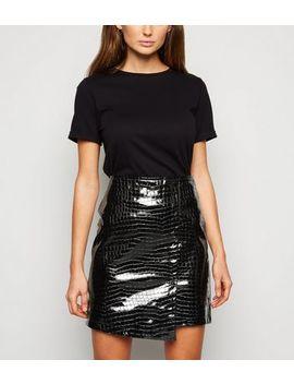 urban-bliss-black-patent-faux-croc-mini-skirt by new-look