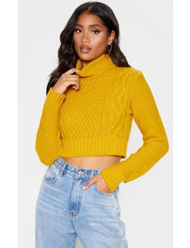 mustard-roll-neck-fluffy-crop-cable-knit-crop-sweater by prettylittlething
