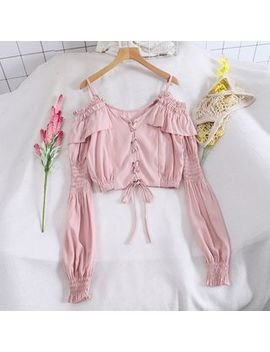 pinatra---off-shoulder-long-sleeve-ruffled-cropped-blouse by pinatra
