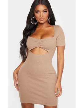shape-mocha-ribbed-twist-front-cut-out-bodycon-dress by prettylittlething