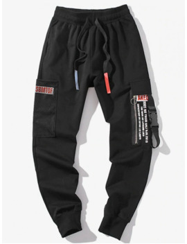 hot-salezipper-decoration-letter-pattern-jogger-pants---black-m by zaful