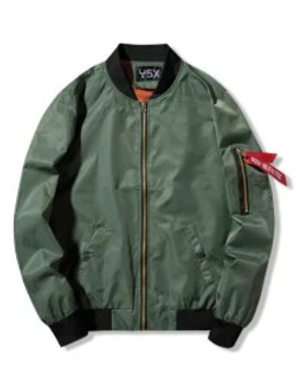 graphic-print-zip-up-pocket-bomber-jacket---army-green-s by zaful