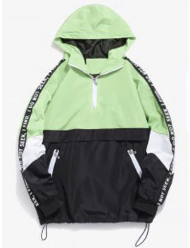 hot-salecontrast-half-zip-graphic-striped-hoodie---tea-green-m by zaful