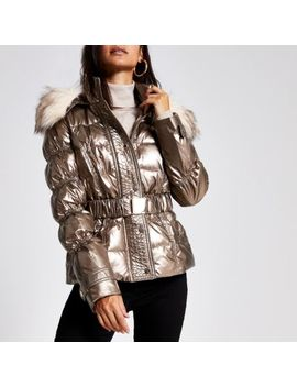 petite-bronze-quilted-faux-fur-hood-jacket by river-island