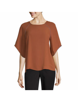 Worthington Womens Round Neck 3/4 Sleeve Blouse by Worthington