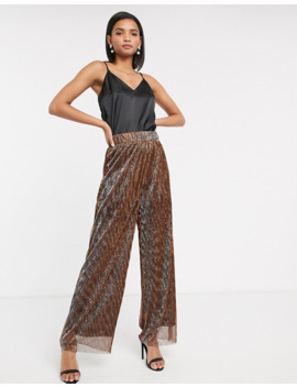 yas-high-waist-glitter-wide-leg-trouser by yas