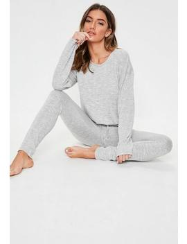 grey-soft-knit-long-sleeve-lounge-tracksuit by missguided