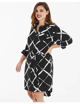 Black/White Print Long Sleeve Shirt Dress by Simply Be