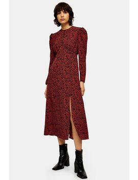 Red Animal Print Piped Midi Dress by Topshop