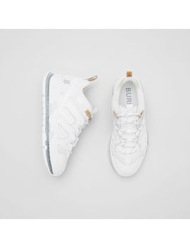 Nylon And Leather Union Sneakers by Burberry