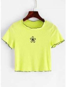 Floral Embroidered Lettuce Trim Neon Tee   Green Yellow S by Zaful