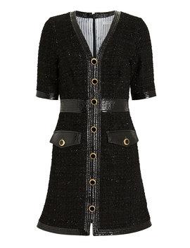 Simona Vegan Leather Trimmed Tweed Dress Simona Vegan Leather Trimmed Tweed Dress by Veronica Beard Veronica Beard