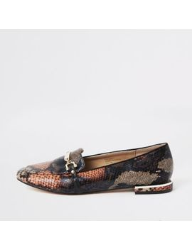 Orange Snake Print Snaffle Chain Ballet Shoes by River Island