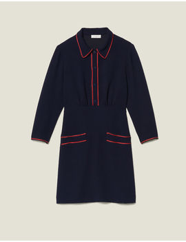 Textured Dress With Braid Trims by Sandro Eshop