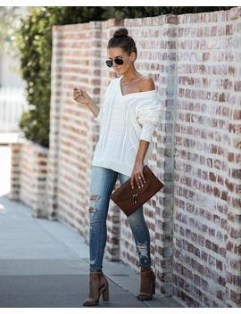 Late Fall Tie Back Relaxed Knit Sweater by Vici