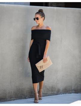 Top Secret Ribbed Off The Shoulder Dress   Black by Vici