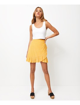 Spot Mesh Wrap Mini Skirt by Sportsgirl