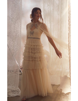Embellished Tiered Tulle Gown by Needle & Thread