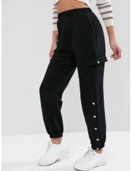 Letter Embroidered High Waist Jogger Pants   Black M by Zaful