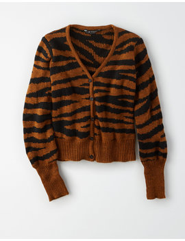 Ae Studio Zebra Print Button Up Cardigan by American Eagle Outfitters