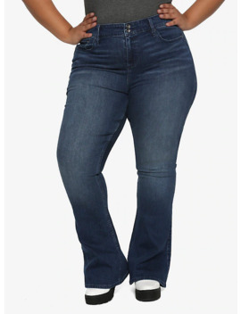 Ht Denim Indigo Hi Rise Flared Jeans Plus Size by Hot Topic