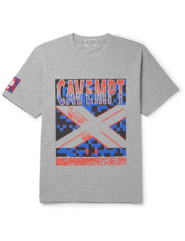 Printed Mélange Cotton Jersey T Shirt by Cav Empt