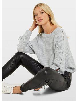Grey Lattice Sleeve Knitted Jumper by Miss Selfridge