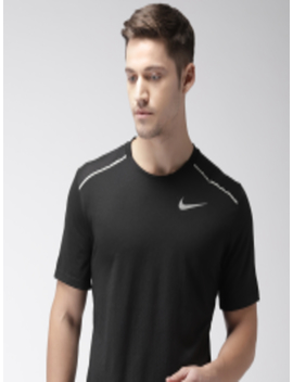Men Black Solid Standard Fit Brthe Rise 365 Ss Dri Fit Round Neck Running T Shirt by Nike