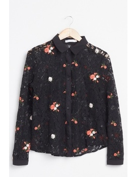 Embroidered Flower Lace Shirt by Everything5 Pounds