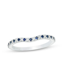Vera Wang Love Collection Blue Sapphire And 1/15 Ct. T.W. Diamond Contour Wedding Band In 14 K White Gold by Zales